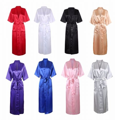 Sexy Long Silk Kimono Dressing Gown Bath Robe Babydoll Lingerie Nightdress UK